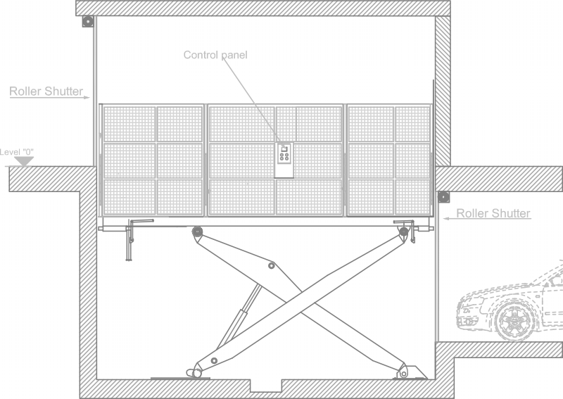 SPS Man-On-Board Car Platform Lift Drawing